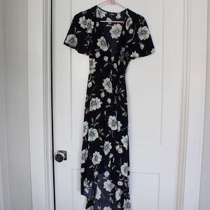 EUC: Lulu Navy Floral Wrap Dress, Size Small